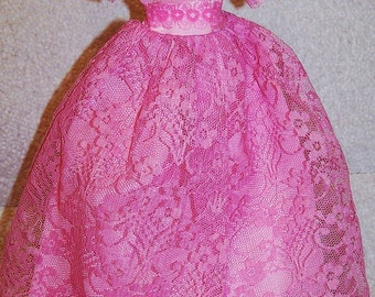 Vintage Barbie / Sindy / Fashion Doll Candy Pink Lace Dress Pink Princess Dress / Ballroom Gown