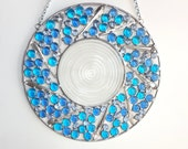 Abstract Round Glass Sun Catcher, One of A Kind, Blue and Purple Glass Gems with Upcycled Sliver Plate Silverware and A Vintage Glass Plate