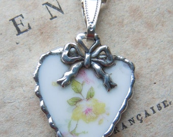 Fiona & The Fig Victorian Era-French Limoges - YELLOW ROSE - Broken China Soldered Necklace Pendant Charm - Jewelry