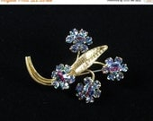 RESERVED FOR Sender: Nedra Hall in ludes errings in sale IRIS Rhinestone Brooch / Tourmaline Rhinestone, Wedding,1920's Circa