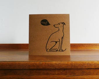 Whippet, Original Hand Printed Card, Linocut Card, Blank Greeting Card, Brown Kraft card,  Free Postage in UK,