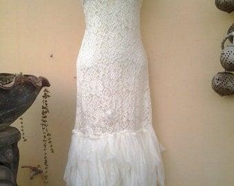 "20%OFF wedding bridal vintage bohemian gypsy OAK lagenlook cotton dress.small to firmer 36"" bust..."
