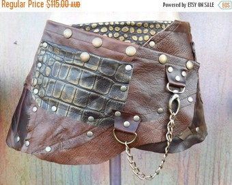 """20%OFF Distressed patchwork leather bohemian tribal gypsy fringed belt..34"""" to 42"""" waist or hips.."""