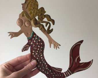 SALE everything in store has 20% off code: NEARLYXMAS20 Vintage Mexican tin metal cutout mermaid for decor or use in craft and art