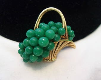 Flower Basket Vintage Brooch Faux Jade Green Glass Bead Gold Plate Pin 1960's