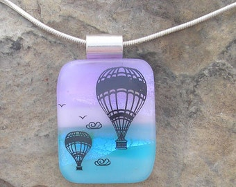 Hot Air Balloon Necklace Dichroic Fused Glass Pendant Balloon Jewelry