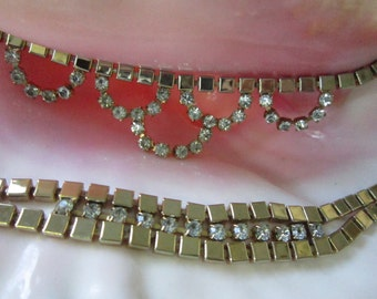"Stunning RHINESTONE  NECKLACE BRACELET Set Gold Tone 7 1/2"" L Necklace16 1/2"" Vintage 1950s Era-Excellent Condition"