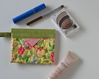 Patchwork Quilted Snap Bag, Jewellery Pouch, Cotton Cosmetic Pouch