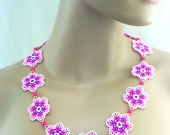 Seed Bead Pink Flower Necklace