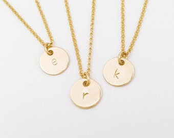 Tiny initial (necklace) - Small 14k Gold Filled disc personalized jewelry
