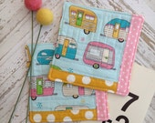 Happy Camper Quilted Coasters Set of 2 Mug Rugs Teacher Gifts Hostess Gift