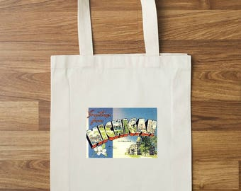Greeting From Michigan Tote Bag | Farmers Market Tote | Reusable Tote | Michigan Tote | Travel Tote Bag | Travel Gift | Vacation Bag | MI