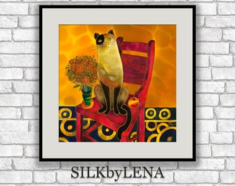GICLEE Art Print cat artwork cat art print cat painting  wall art print silk painting fine art print