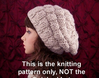 Knit rippled beehive slouch pattern - instant download knitting pattern - DIY knit hat pattern - Sandy Coastal Designs