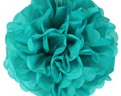Teal Green Tissue Pom Pom 6, 8 or 10 inch Set of 2 /Weddings/Showers/Birthdays/Parties