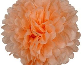 Creamy Peach Tissue Pom Pom 4, 6 or 8 inch Set of 2 /Weddings/Showers/Birthdays/Parties