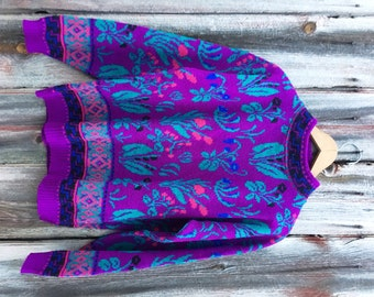 Vintage Granny Floral Sweater Bright 80s Nordic Intarsia Pattern
