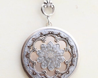 ON SALE Locket Necklace,Silver Locket,Jewelry ,White Locket,Let it go,Gift,Snow,Pendant,filigree locket necklace, filigree locket,Wedding Ne
