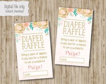 Twinkle Twinkle Little Star Diaper Raffle Ticket, Watercolor Flower, Twinkle Twinkle Diaper Raffle Ticket, Gold Glitter, Twinkles