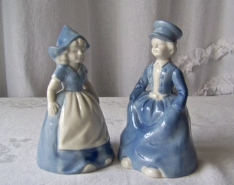 Vintage Dutch Girl & Boy Bells  Holland Delft Blue Dutch Boy and Girl Bells Hand Painted Blue 1970s
