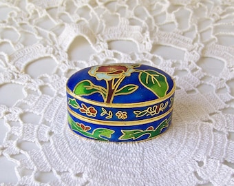 Vintage Trinket Box Cloisonne Enamel Metal Miniature Box Pill Box Secret Space 1980s