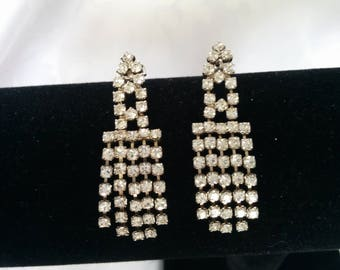 Vintage Rhinestone Earrings, Dangle Rhinestone Earrings