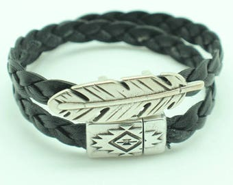 Feather & Black Braided Leather Wrap Bracelet