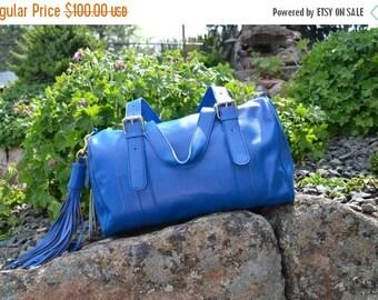 On Sale Leather Bag Satchel 16 X 10 X 7 HUGE Beautiful Blue Gutsy Girls Bag Handmade Italian Leather