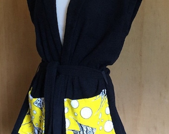 Vintage 1950s inspired black cotton terry towelling beach robe swimsuit cover with angel fish S M Viva