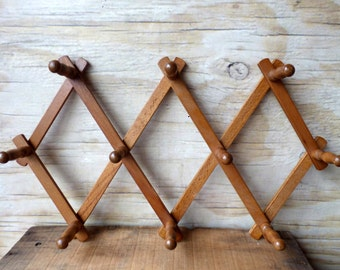 Vintage Accordion Peg Rack - Wooden Peg Rack