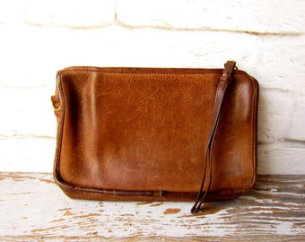 Vintage Coach Inspired Clutch Bag  Leather Wristlet
