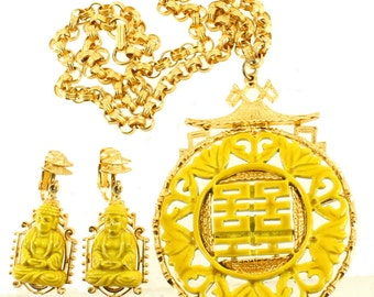 """Vintage Asian Chinese Buddha Temple Enamel Medallion Necklace & Earrings by ART  Set 20"""""""