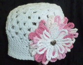 RESERVED LISTING for Tina - Crochet Hat for Toddler, Crochet Baby Beanie with Flower, Little Girl Hats
