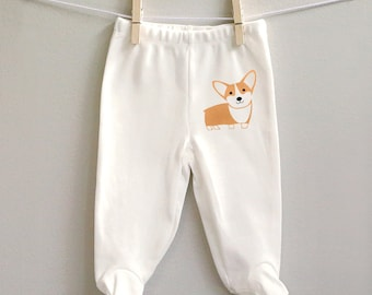 Corgi footed baby pants for baby boy or baby girl, soft organic cotton