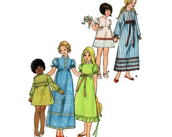 "Girl's Empire Waist Dress Sewing Pattern Puff Sleeve Flower Girl Vintage 70s Childrens' Size 6 Vintage Chest 25"" (64 cm) Butterick 6272 G"