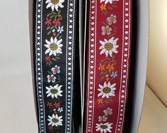 Edelweiss Scandinavian Style Jacquard Fabric Trim 1 3/8 inch wide by the yard