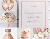 Rose Gold Wedding Invitations, Rose Gold Invitation, Elegant Wedding Invitations, Pink Wedding, Pink Invitations, Formal Invitation