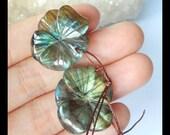 Sell 2pcs Carved Labradorite Flower Gemstone Pendants,Handmade Carved Focal Bead,23x20x6mm,7.9g(c0964)
