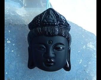 Carved  Obsidian Gemstone Buddha Head Pendant Bead,36x26x13mm,20.0g(b0820)