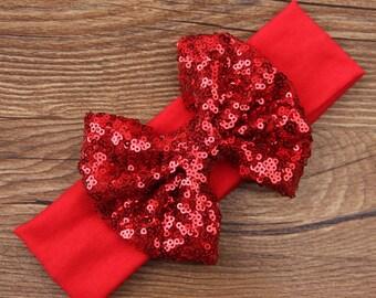 SALE - Red Valentines Formal Baby Girl Headband Sequins Bow Embellished Newborn Headband Accessories Infant Headband