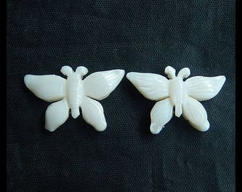 New,Carved Shell Butterfly Cabochon Pair,27x17x5mm,4.91g
