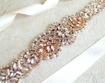 Rose gold Bridal Crystal, Pearl sash. Rhinestone Applique Wedding Dress Belt. Bride Sash. CALLISTA