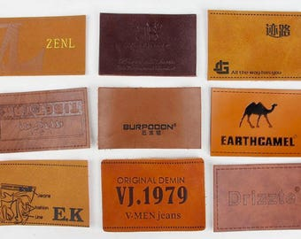 100 Genuine Leather label, Real Leather Label, custom leather labels