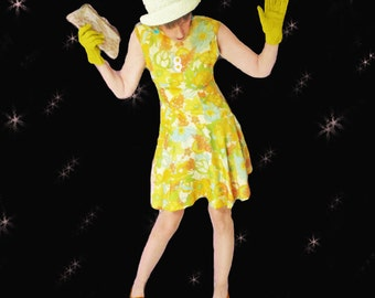 Vintage 1960s Psychedelic Dress - Sleeveless Yellow Summer Floral - Mod 60s