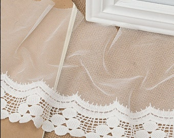 "5 yard 16cm 6.29"" wide ivory mesh tulle gauze fabric embroidered tapes lace trim ribbon 1218 free ship"