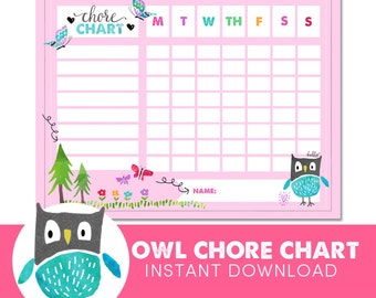 Kids Chore Chart  - Owl - Reward Chart - Behavior Chart - Potty Training - Watercolor - Instant Download