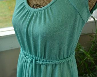 Vintage Green Sun Dress Swim Suit Coverup Dress - S - M