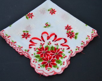 Vintage Womens Handkerchief Red Christmas Floral Hanky