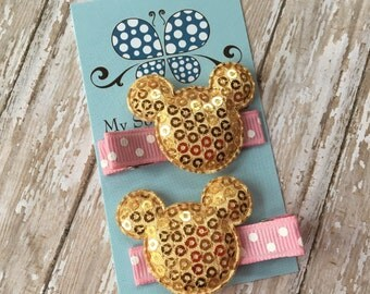 Mickey/Minnie Mouse Inspired Hair Clip Set-Sequin Mouse Ears-Gold and Pink-Hair Barrettes-pigtail Set