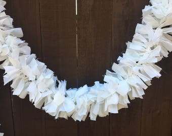 White Garland, Mantle Swag, White Cotton Garland, Photo Prop, Custom Size & Color Available